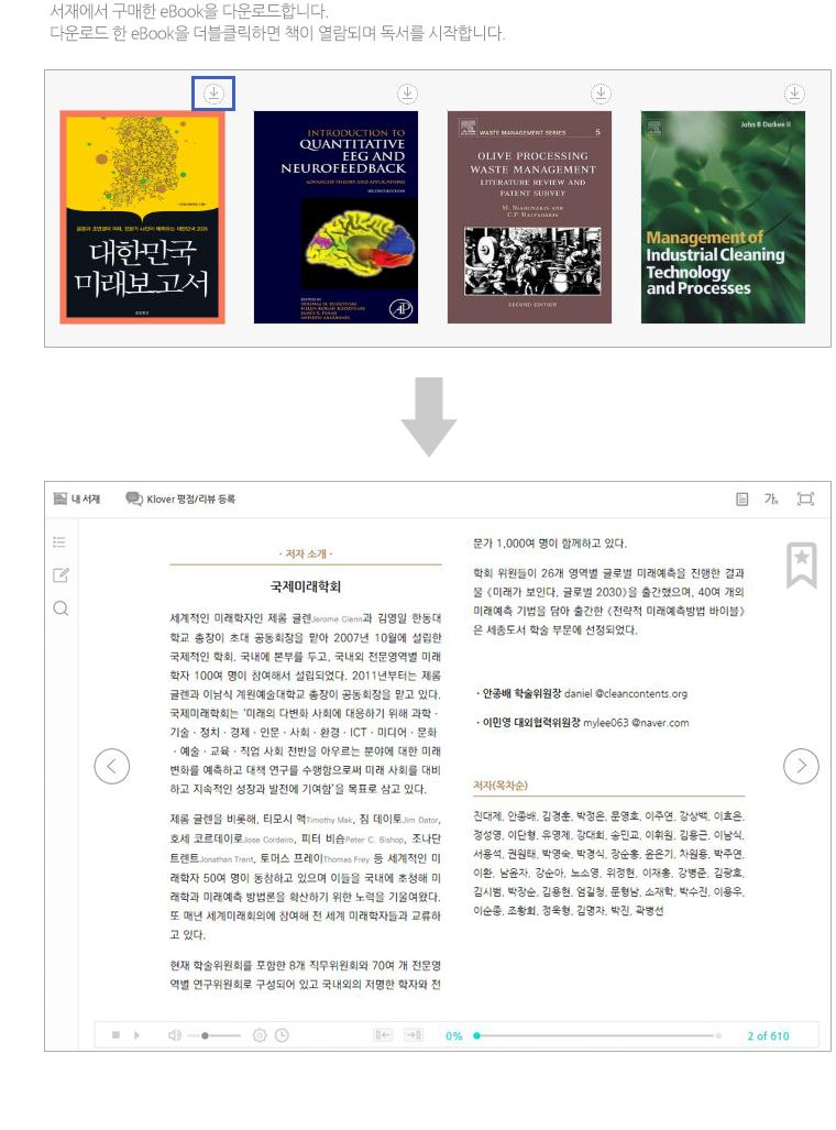 서재에서 구매한 eBook을 다운로드합니다.다운로드 한 eBook을 더블클릭하면 책이 열람되며 독서를 시작합니다.