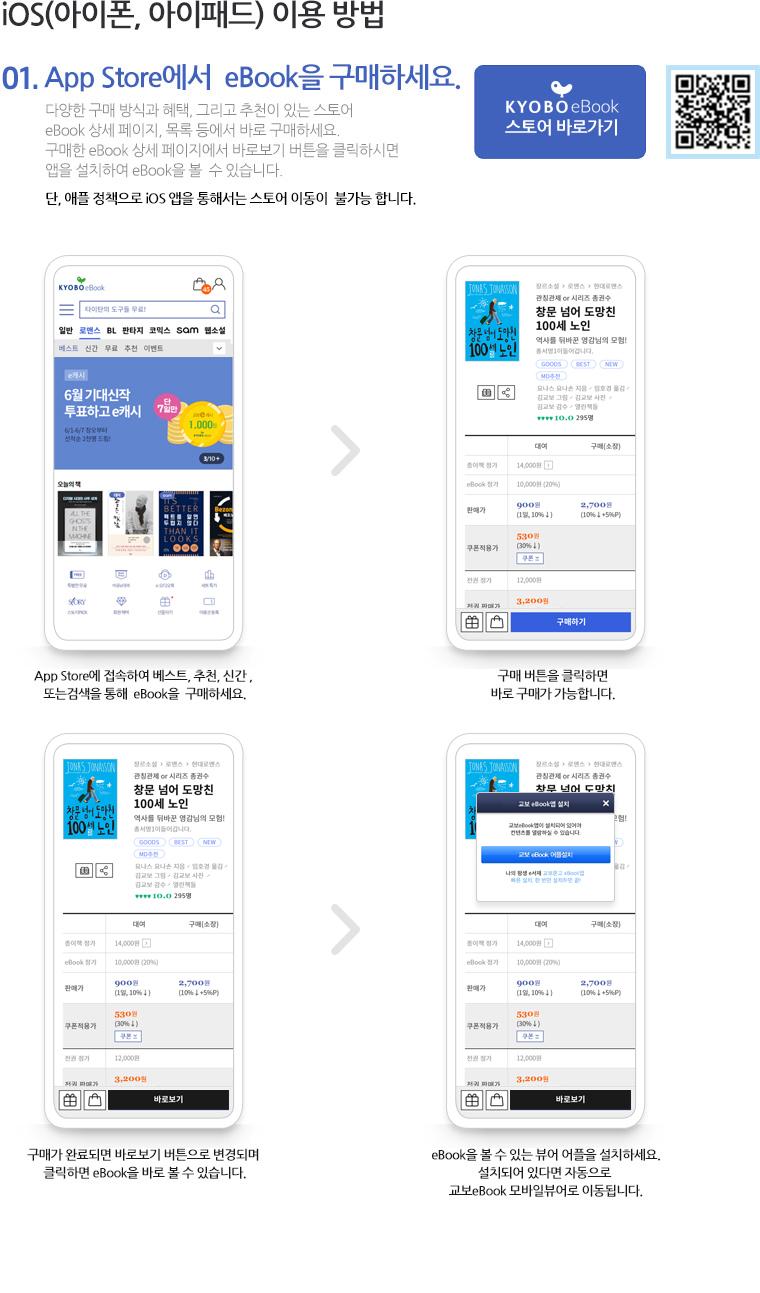 01. iOS(아이폰, 아이패드) 이용 방법 01.App Store에서  eBook을 구매하세요. 다양한 구매 방식과 혜택, 그리고 추천이 있는 스토어 eBook 상세 페이지, 목록 등에서 바로 구매하세요. 구매한 eBook 상세 페이지에서 바로보기 버튼을 클릭하시면 앱을 설치하여 eBook을 볼  수 있습니다. 단, 애플 정책으로 iOS 앱을 통해서는 스토어 이동이  불가능 합니다.