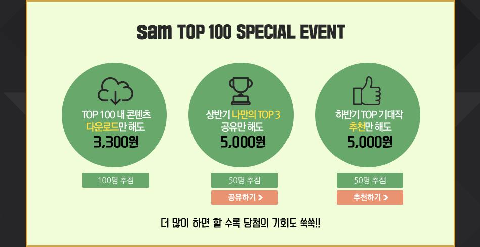 sam TOP 100 SPECIAL EVENT  TOP 100 내 콘텐츠 다운로드만 해도   3,300원  100명 추첨