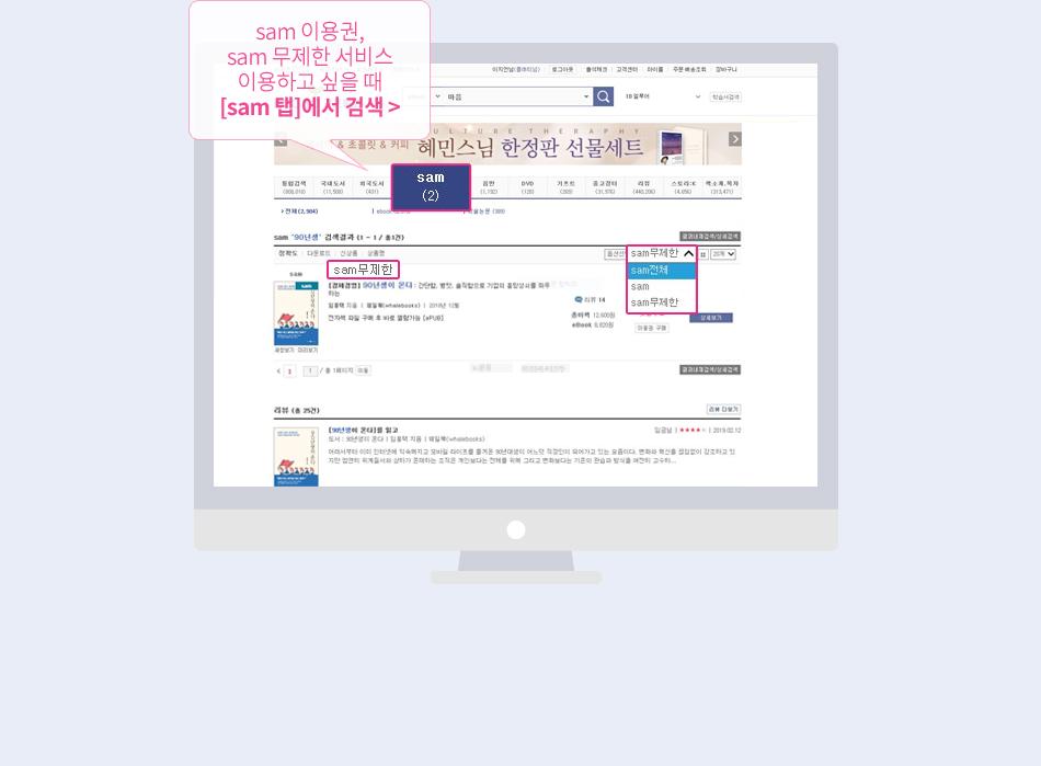 검색결과에서 버튼 클릭 후 구매방식별 필터로 도서검색 가능