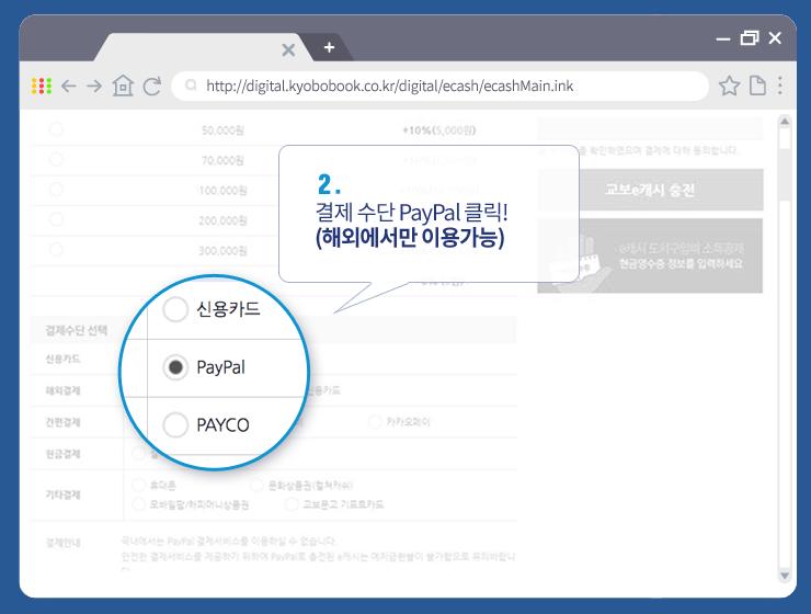 2. 결제수단 PayPal 클릭! (해외에서만 이용가능)