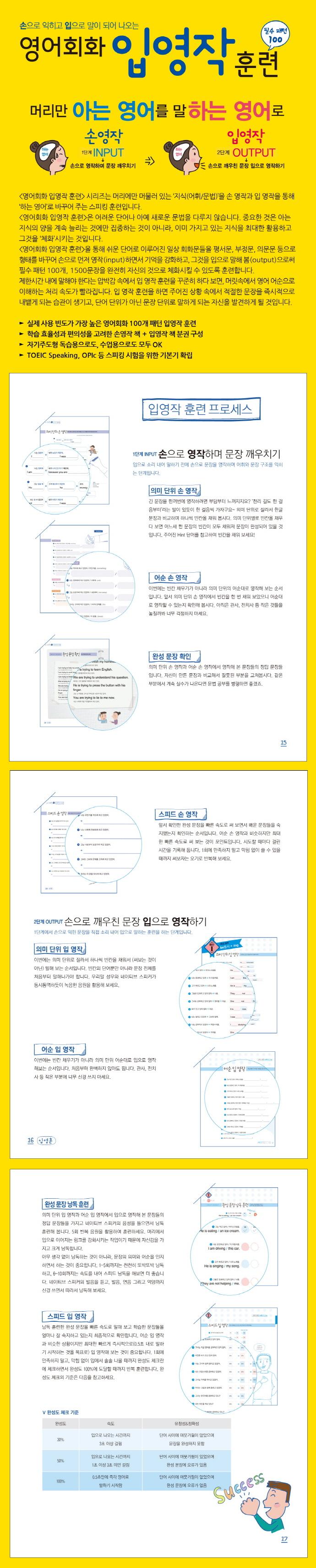 영어회화 입영작 훈련. 1(손으로 익히고 입으로 말이 되어 나오는)(CD1장포함) 도서 상세이미지