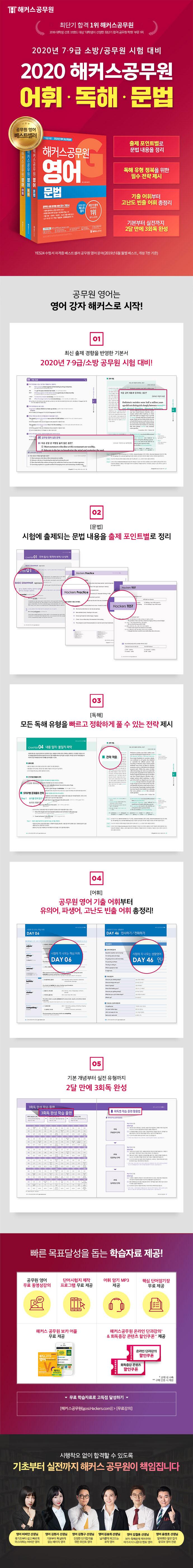 영어 기본서 세트(2020)(해커스 공무원)(전3권) 도서 상세이미지