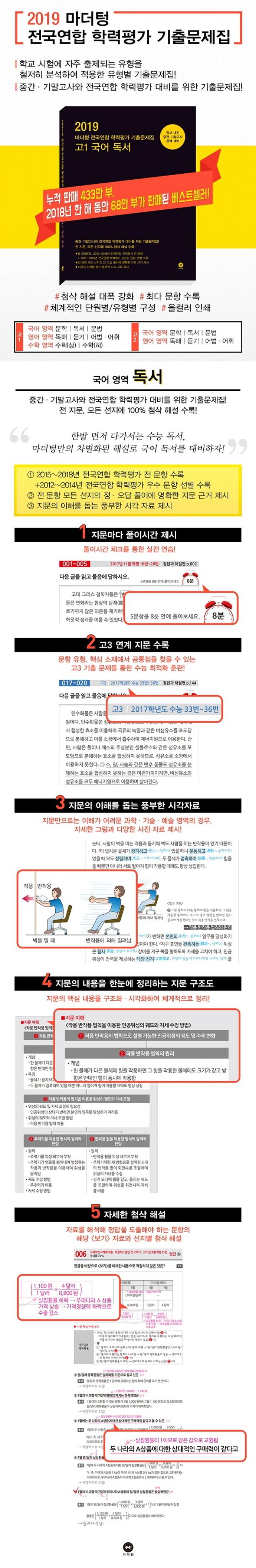 고등 국어 고1 독서 전국연합 학력평가 기출문제집(2019)(마더텅) 도서 상세이미지