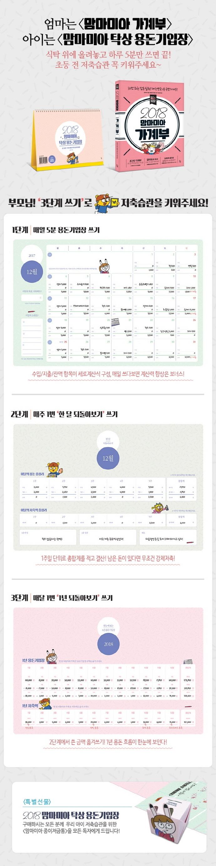 맘마미아 탁상 용돈기입장(2018)(스프링) 도서 상세이미지