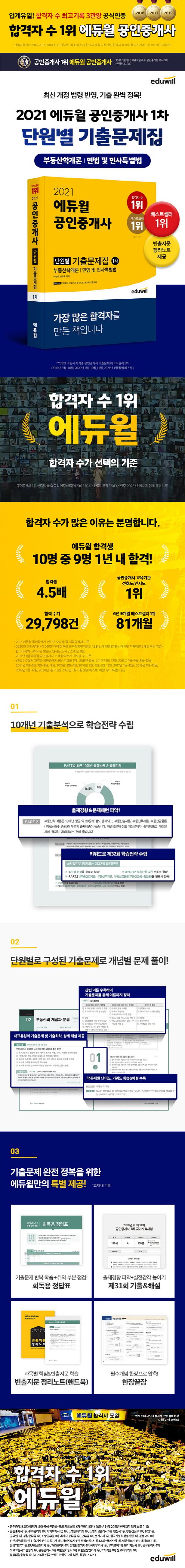 공인중개사 1차 단원별 기출문제집(2021)(에듀윌) 도서 상세이미지