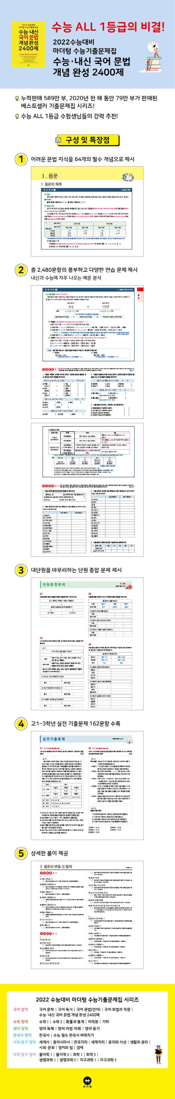마더텅 고등 국어 문법 수능 내신 개념 완성 2400제 수능기출문제집(2021)(2022 수능대비) 도서 상세이미지