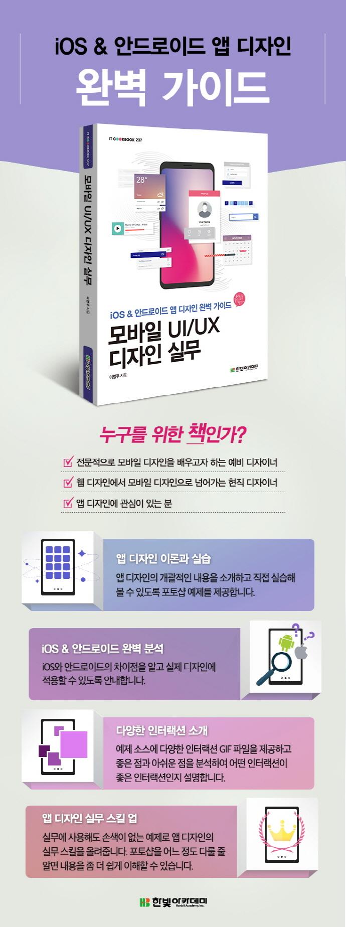 모바일 UI/UX 디자인 실무(IT CookBook 237) 도서 상세이미지