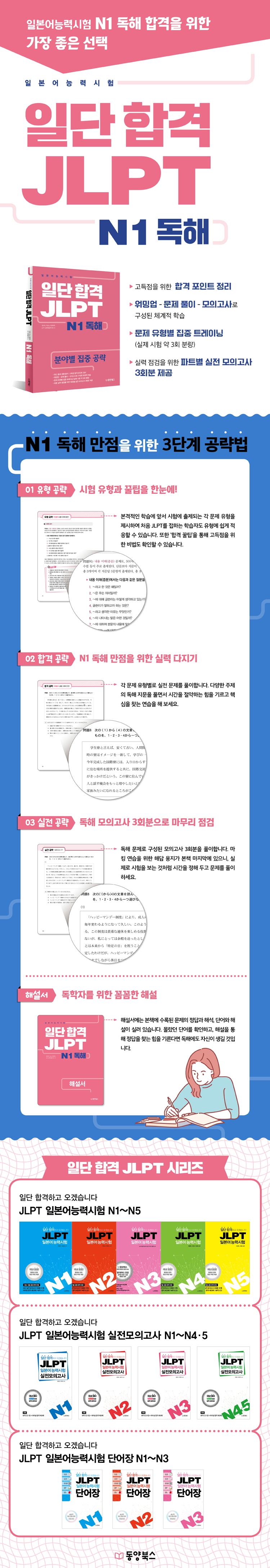 일단 합격 JLPT 일본어능력시험 N1 독해 도서 상세이미지