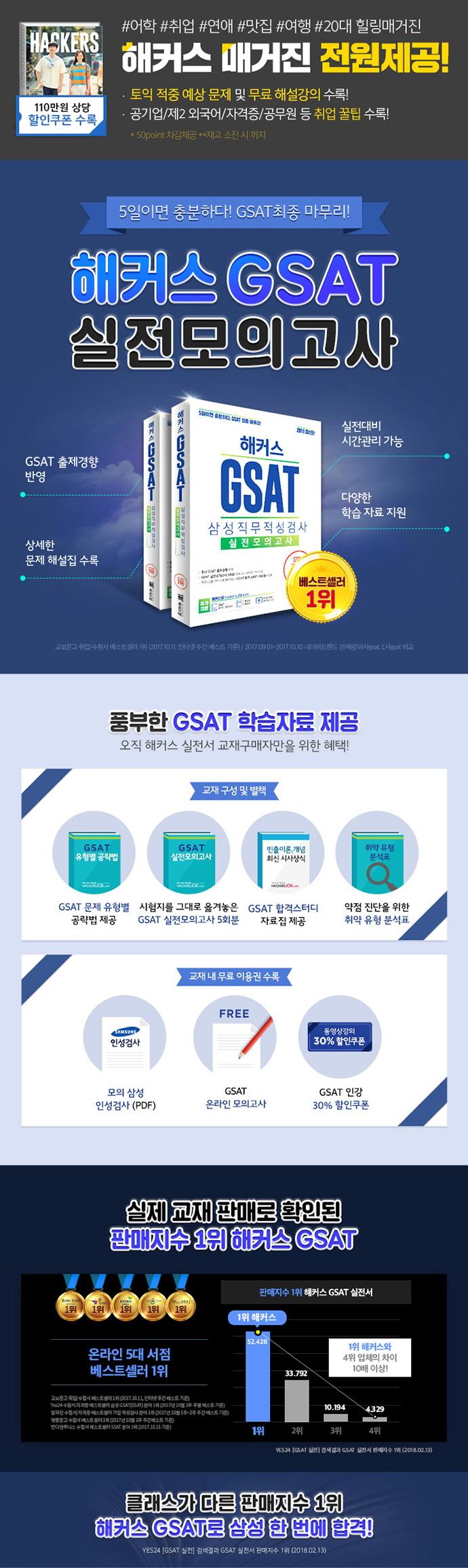 GSAT 삼성직무적성검사 실전모의고사(2018)(해커스) 도서 상세이미지