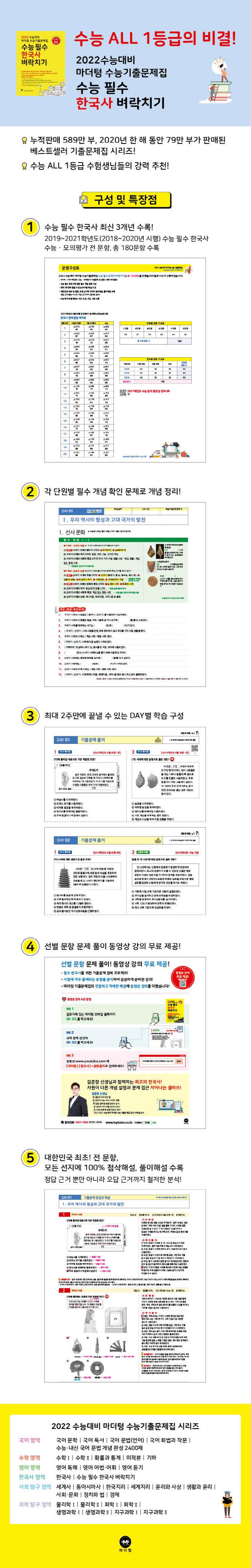 마더텅 고등 한국사 수능 필수 벼락치기 수능기출문제집(2021)(2022 수능대비) 도서 상세이미지
