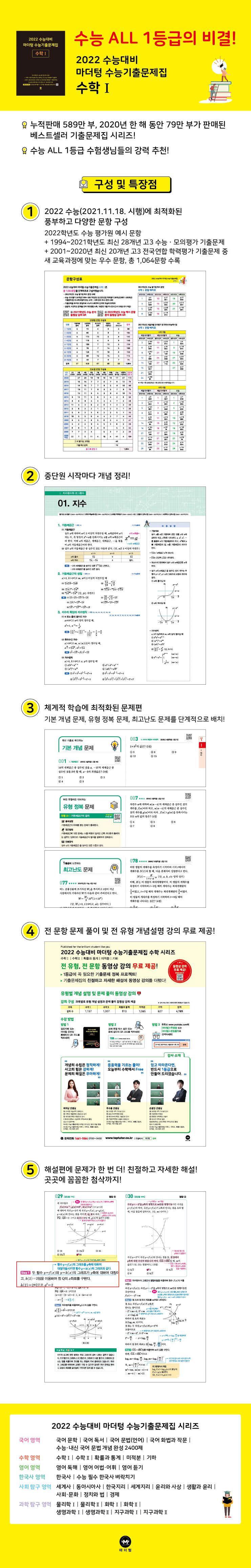 고등 수학1 수능기출문제집(2021)(2022 수능대비)(마더텅) 도서 상세이미지