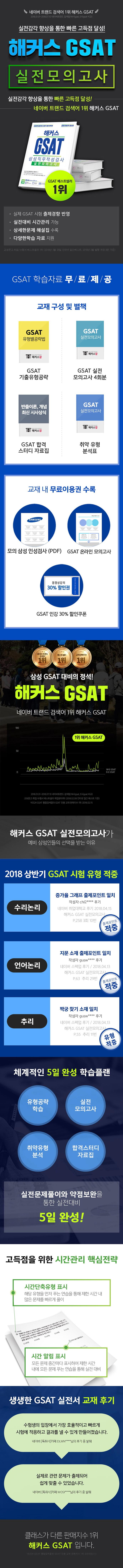 해커스 GSAT 삼성직무적성검사 실전모의고사(2018 하반기)(개정판 9판) 도서 상세이미지