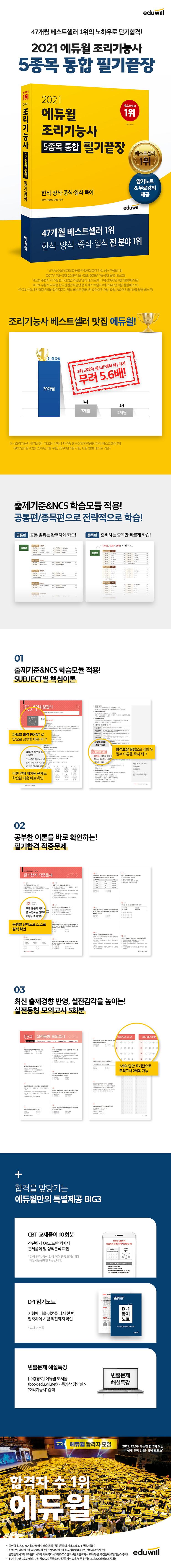 조리기능사 5종목 통합 필기끝장(2021)(에듀윌) 도서 상세이미지