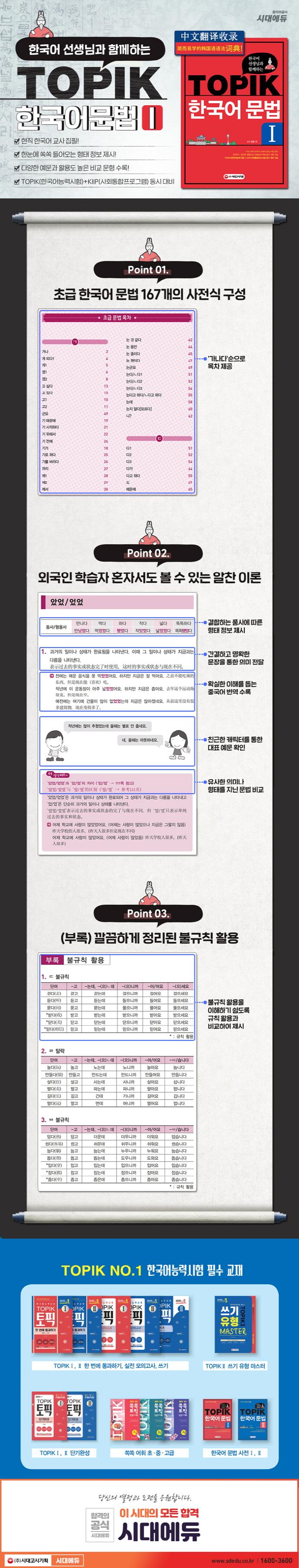 TOPIK 한국어 문법. 1(한국어 선생님과 함께하는)(개정판 3판) 도서 상세이미지