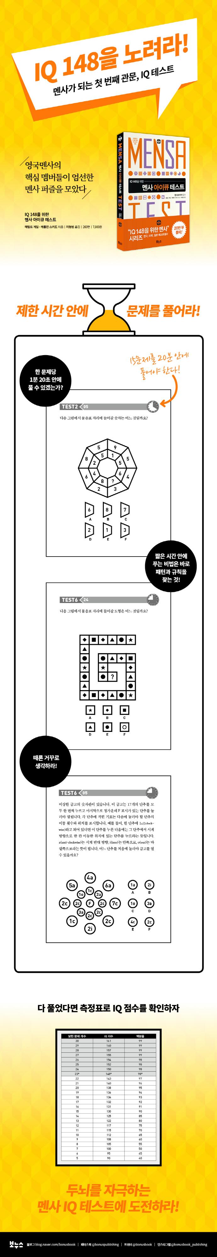 멘사 아이큐 테스트(IQ 148을 위한)(IQ 148을 위한 멘사 퍼즐) 도서 상세이미지