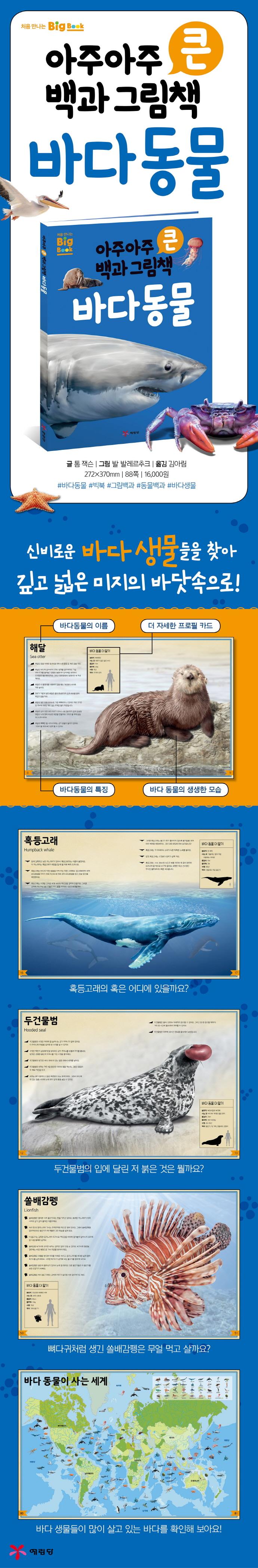 아주아주 큰 백과 그림책 바다 동물(양장본 HardCover) 도서 상세이미지