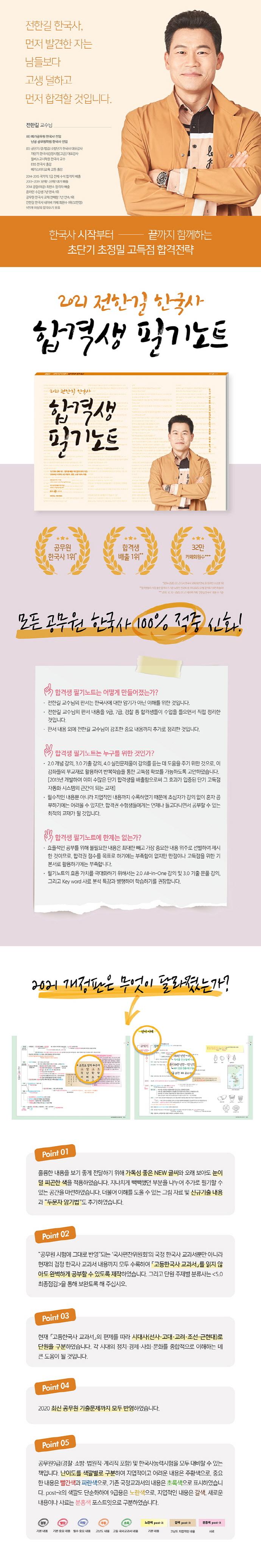 전한길 한국사 합격생 필기노트(2021)(개정판 9판) 도서 상세이미지