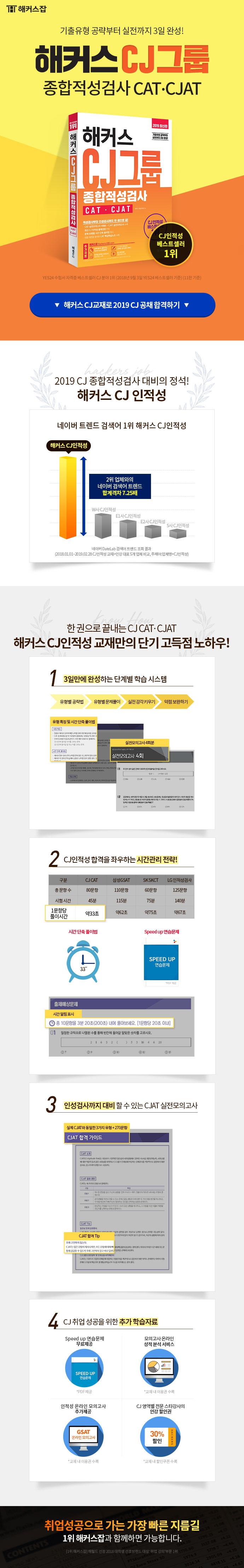 CJ그룹 종합적성검사 CAT CJAT(2019)(해커스) 도서 상세이미지
