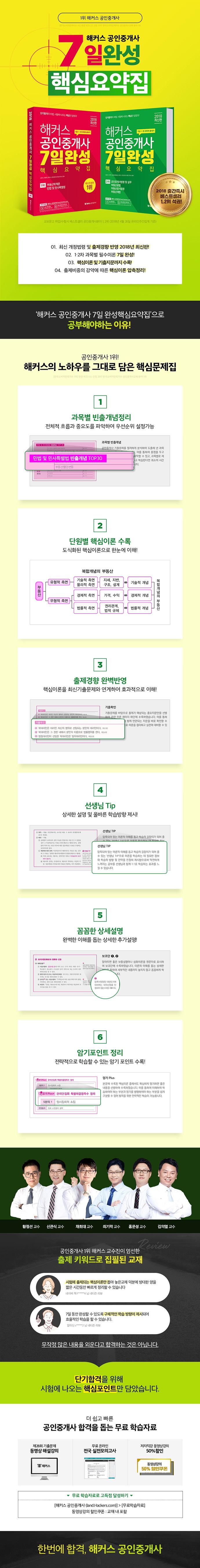 공인중개사 1차 7일 완성 핵심요약집(2018)(해커스) 도서 상세이미지