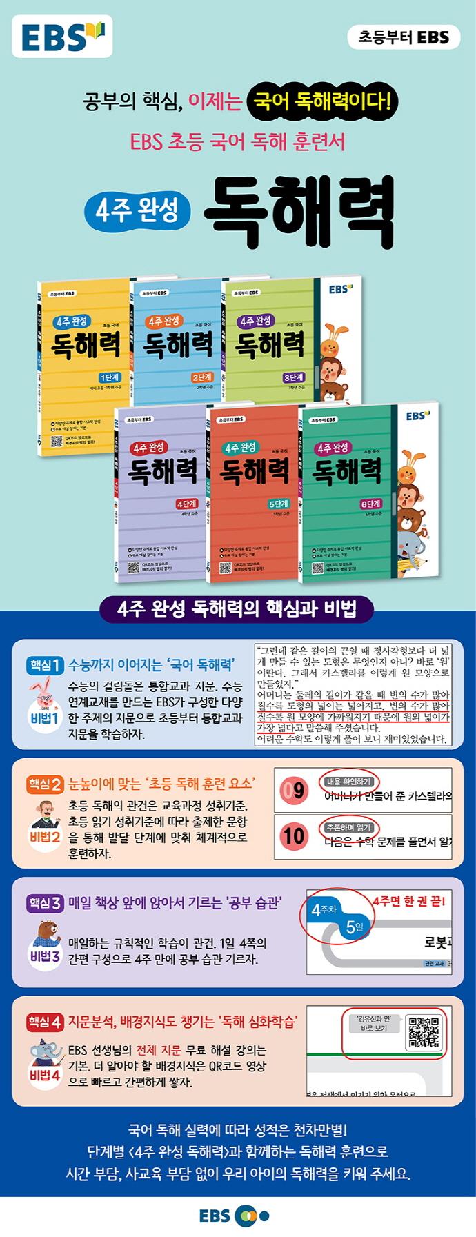 초등 국어 독해력: 6단계(EBS 4주 완성) 도서 상세이미지