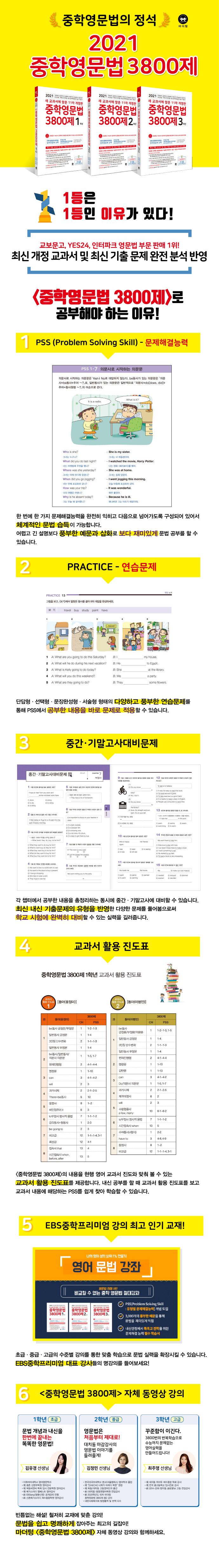 중학영문법 3800제 1학년(2021)(새 교과서에 맞춘)(개정판 11판) 도서 상세이미지