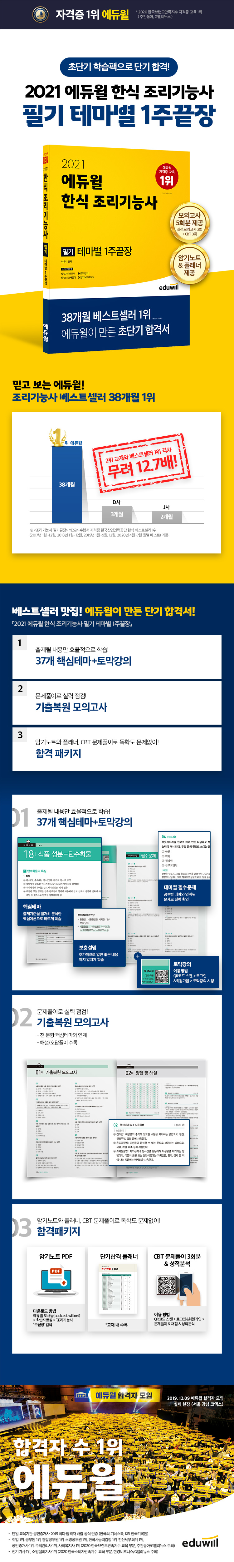 한식 조리기능사 필기 테마별 1주끝장(2021)(에듀윌) 도서 상세이미지