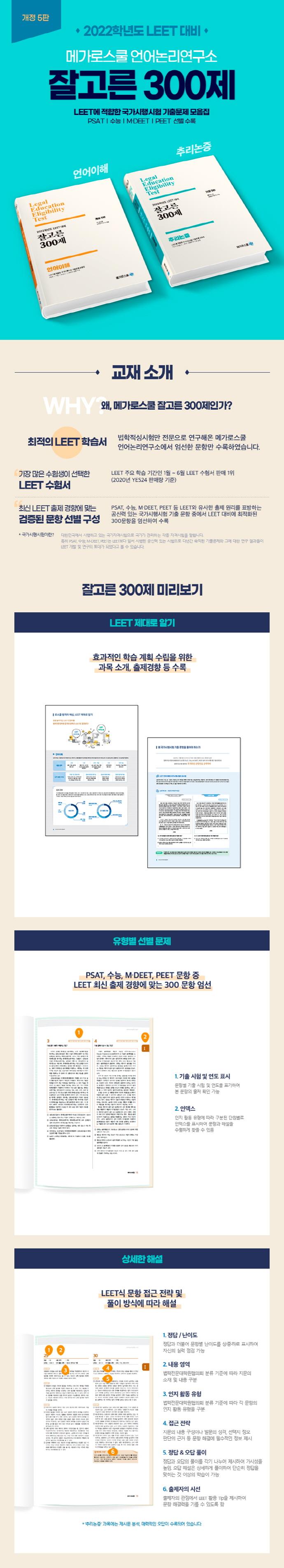 잘고른 300제 언어이해(2022)(개정판 5판) 도서 상세이미지
