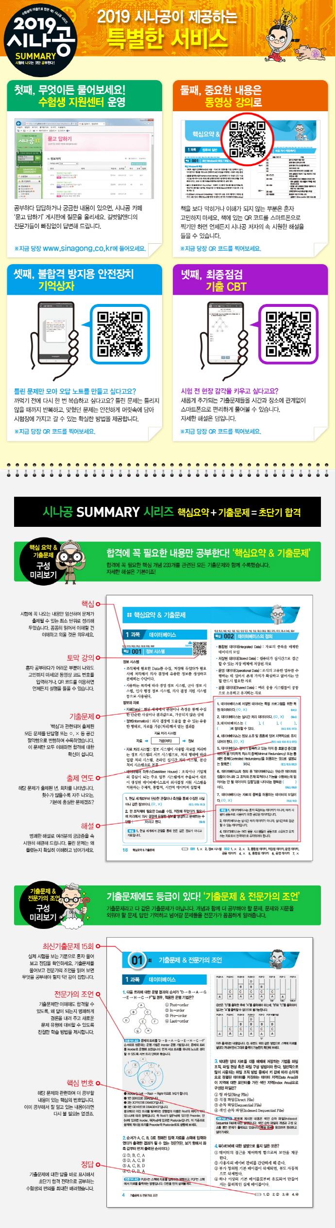 정보처리산업기사 필기(2019)(시나공 Summary) 도서 상세이미지