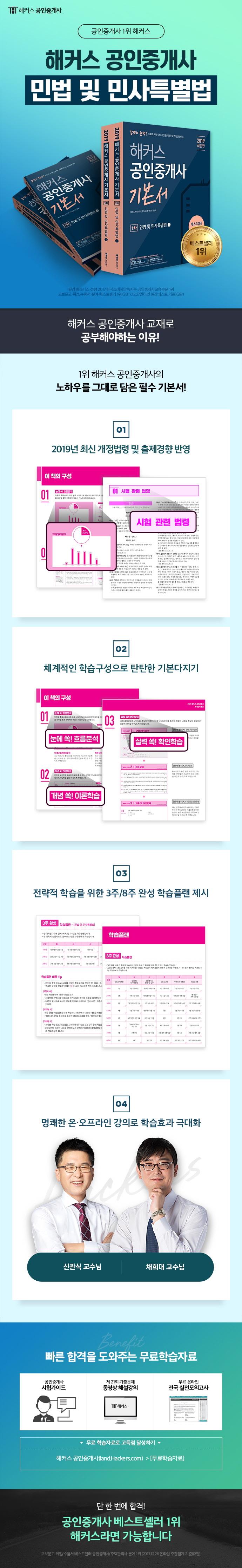 공인중개사 1차 기본서 민법 및 민사특별법(2019)(해커스)(전2권) 도서 상세이미지