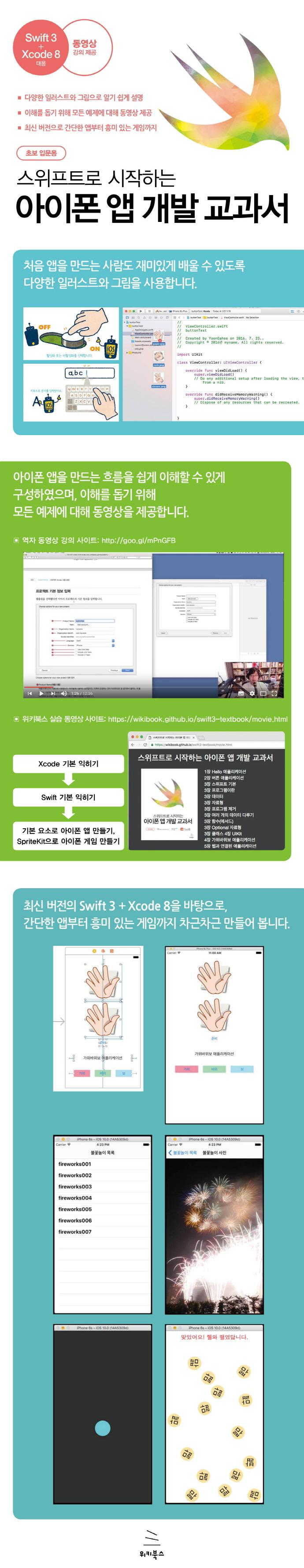 스위프트로 시작하는 아이폰 앱 개발 교과서: 초보 입문용(위키북스 임베디드 & 모바일 시리즈 32) 도서 상세이미지