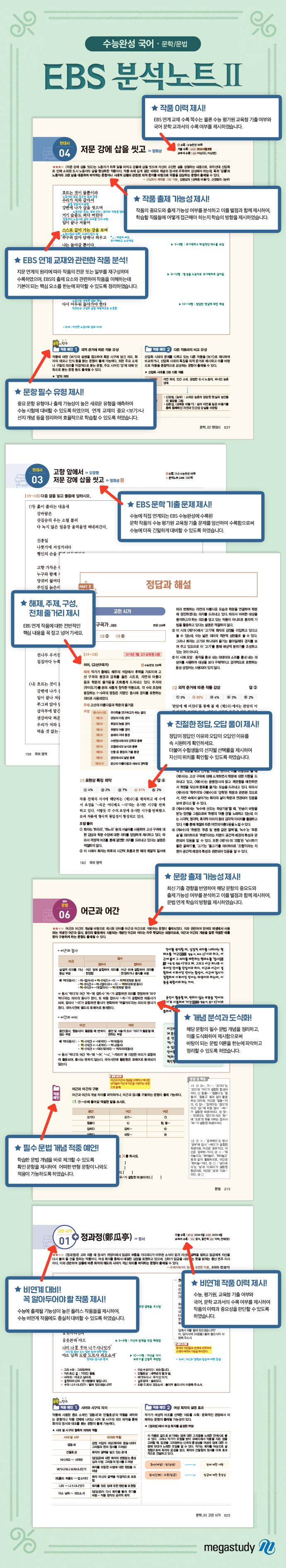 고등 국어 문학/문법 수능완성(2020)(메가스터디 EBS 분석노트. 2) 도서 상세이미지
