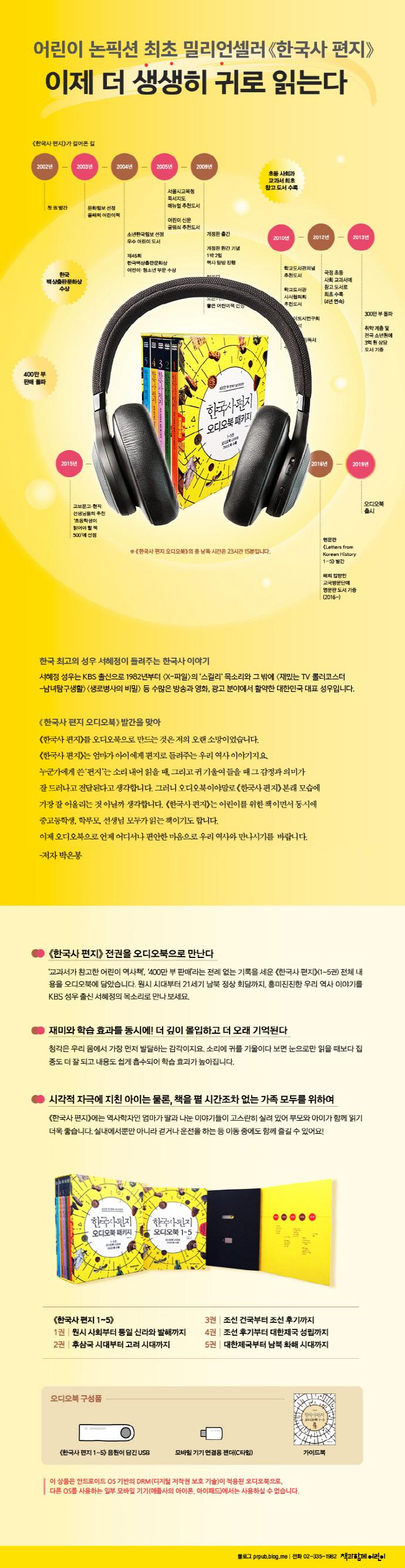한국사편지 오디오북 패키지(PC 및 안드로이드OS 전용)(전5권) 도서 상세이미지