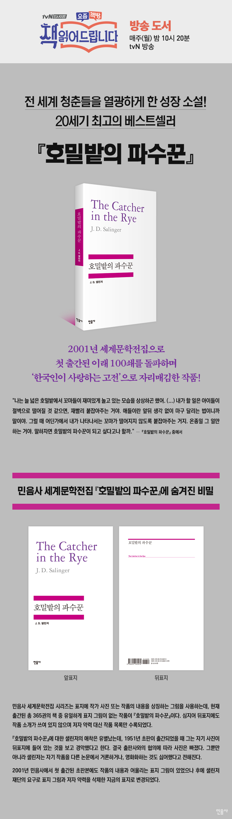 호밀밭의 파수꾼(세계문학전집 47) 도서 상세이미지