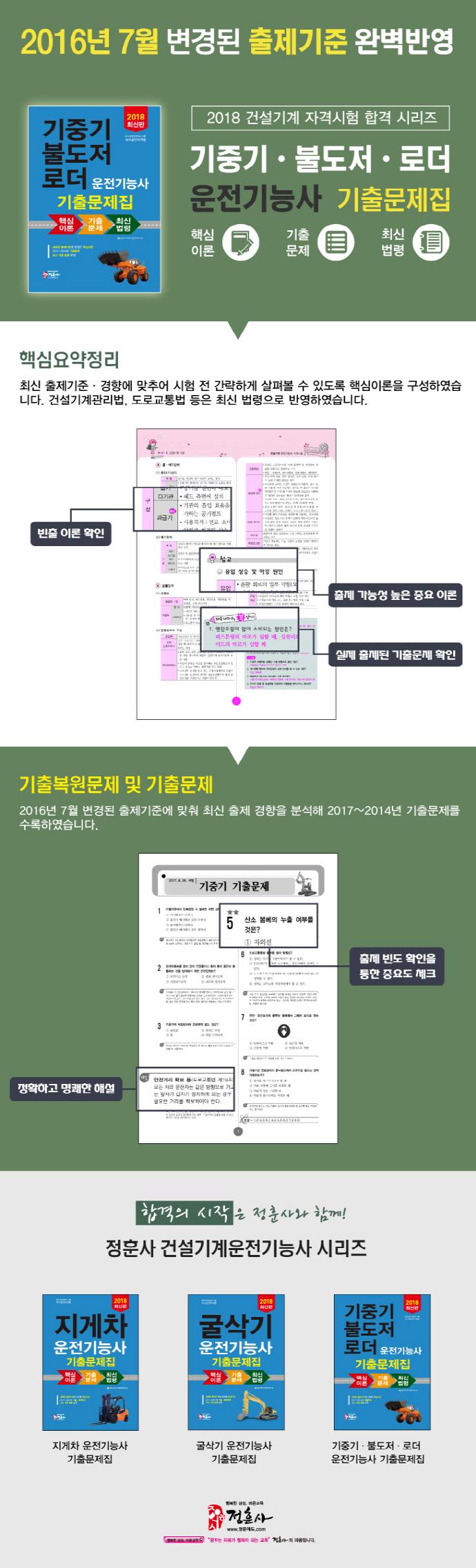 기중기 불도저 로더 운전기능사 기출문제집(2018)(8절) 도서 상세이미지