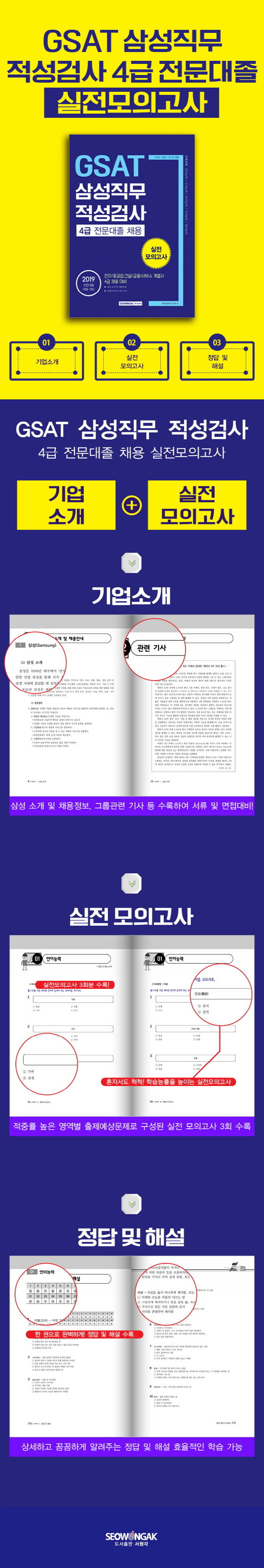 GSAT 삼성직무적성검사 4급 전문대졸 채용 실전 모의고사(2019)(기쎈) 도서 상세이미지