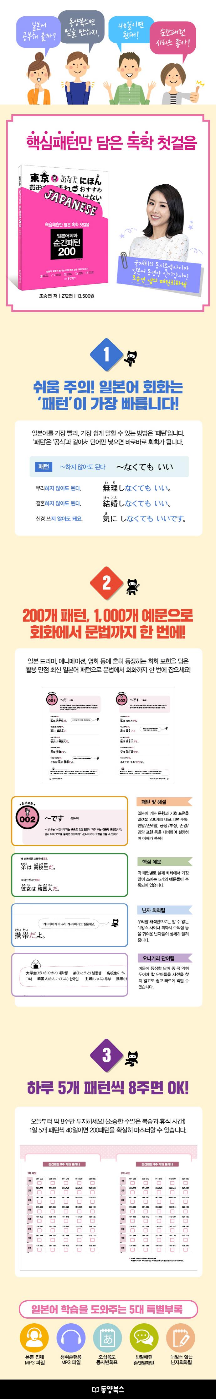 일본어회화 순간패턴 200(CD1장포함) 도서 상세이미지