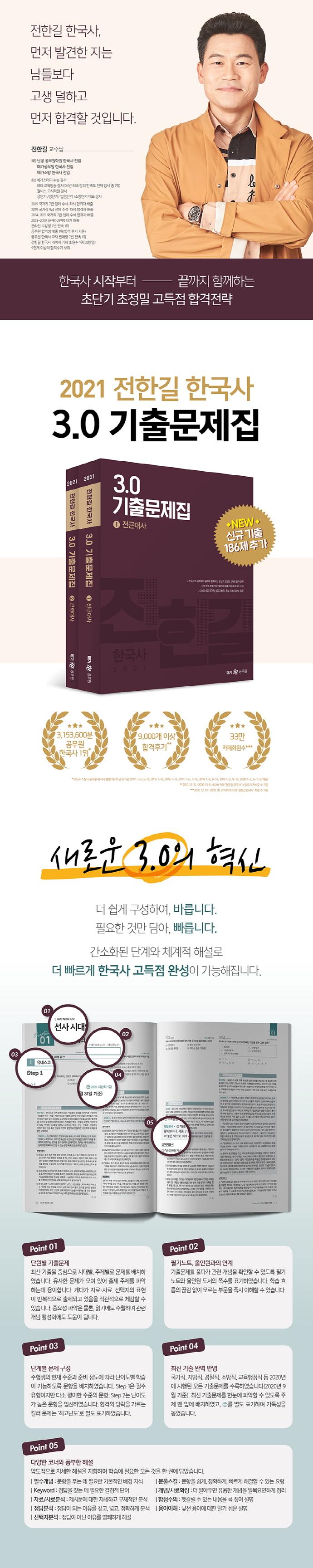 전한길 한국사 3.0 기출문제집 세트(2021)(전2권) 도서 상세이미지