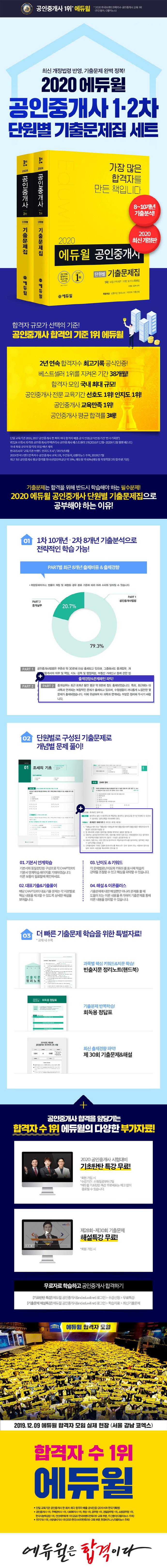 공인중개사 1차 2차 단원별 기출문제집 세트(2020)(에듀윌)(전2권) 도서 상세이미지