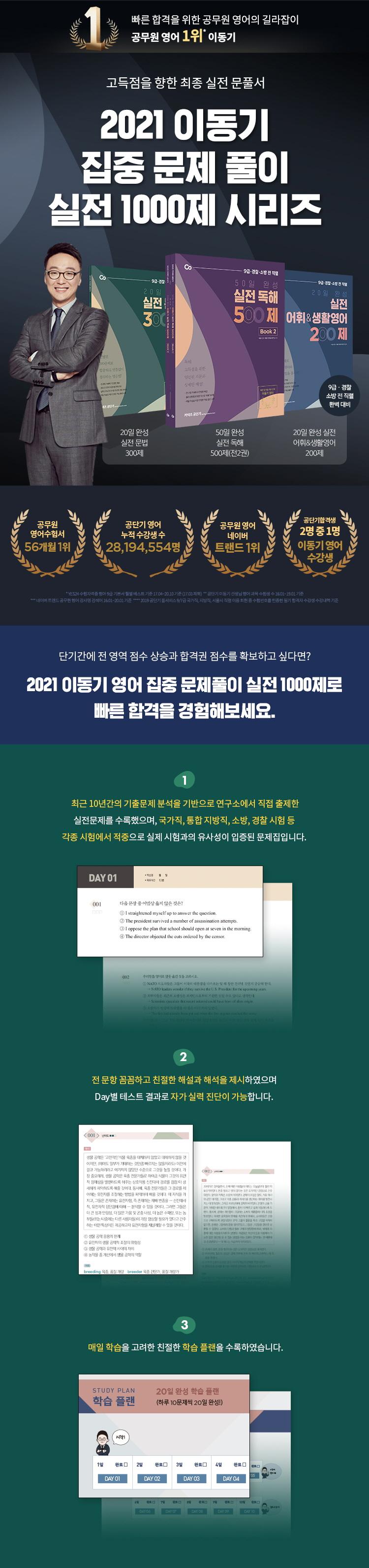 20일 완성 실전 문법 300제(2021)(커넥츠 공단기) 도서 상세이미지