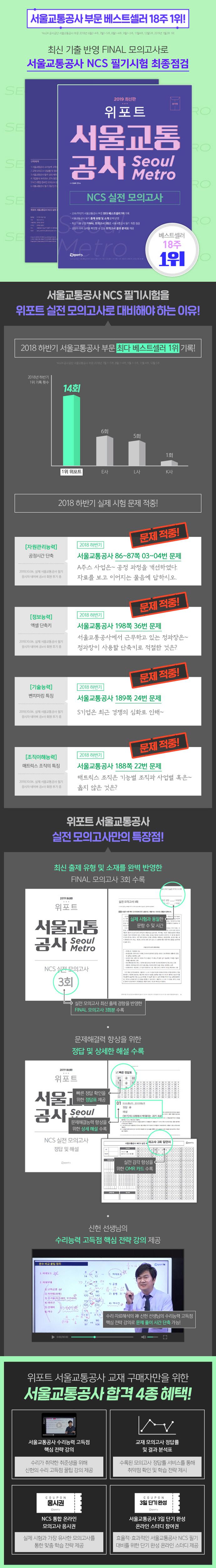 서울교통공사 NCS 실전모의고사(2019)(봉투)(위포트) 도서 상세이미지