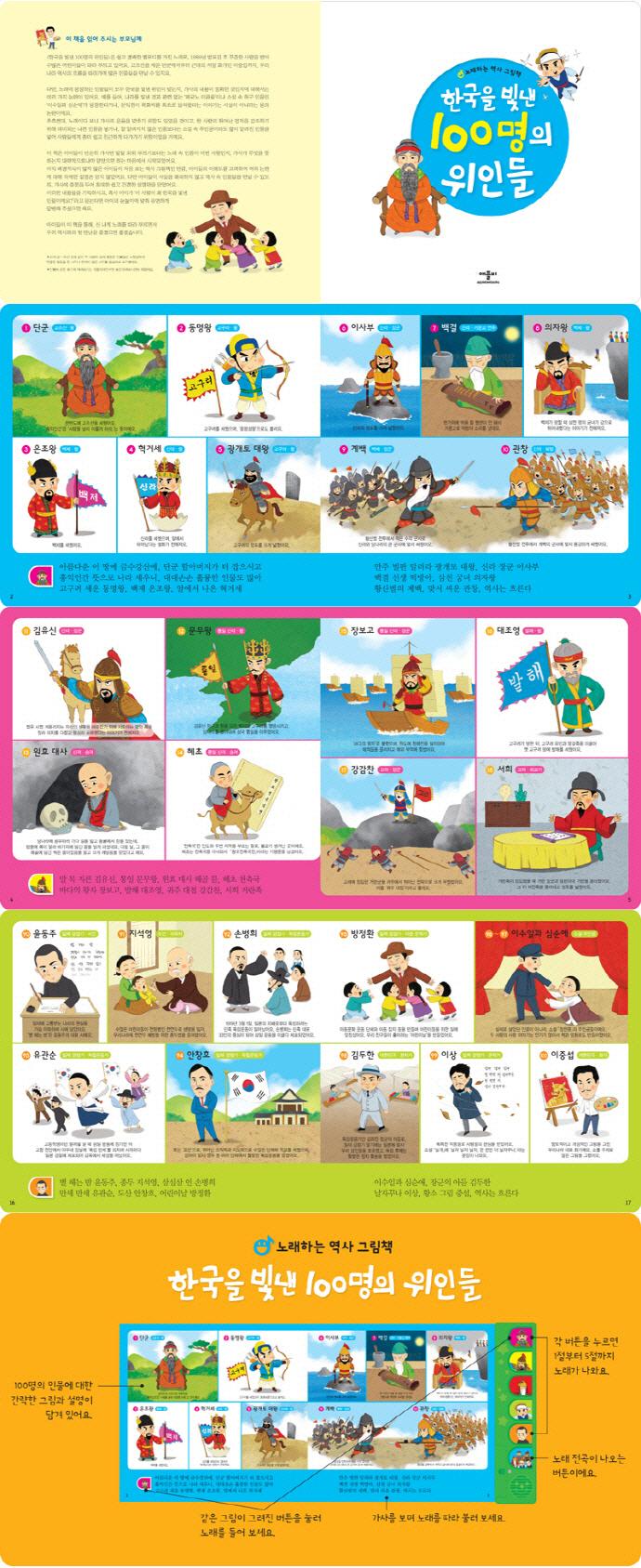 한국을 빛낸 100명의 위인들(사운드북) 도서 상세이미지