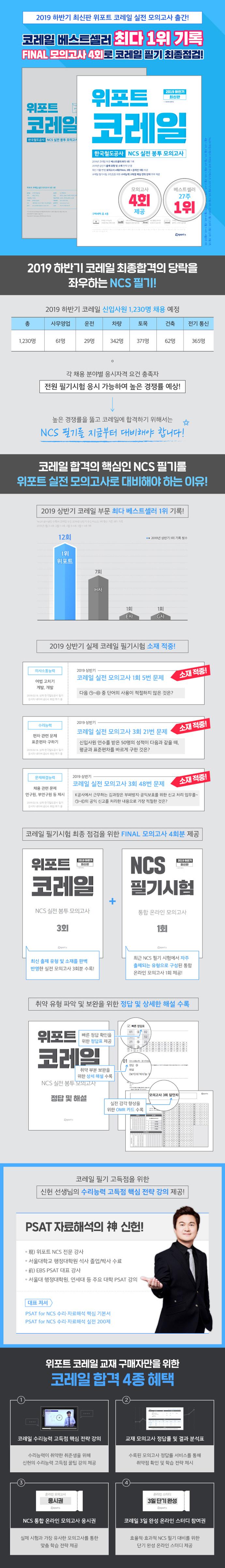 코레일 한국철도공사 NCS 실전 봉투 모의고사(2019 하반기)(위포트) 도서 상세이미지