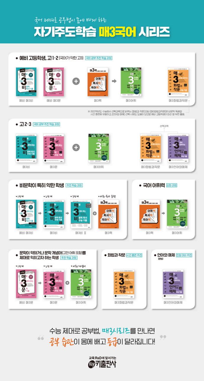 매일 3단계로 공부하는 수능 내신 빈출 국어 어휘(매3어휘) 도서 상세이미지