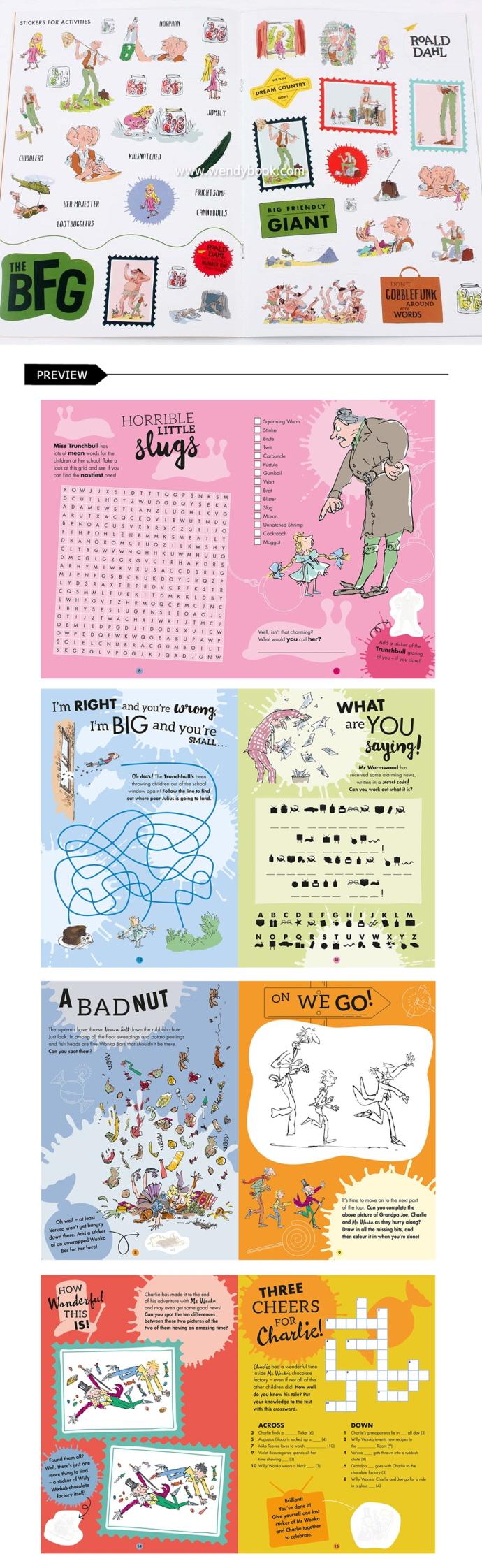 로알드달 스티커북 4종 세트 (영국판) : Roald Dahl's Sticker Book Collection 도서 상세이미지