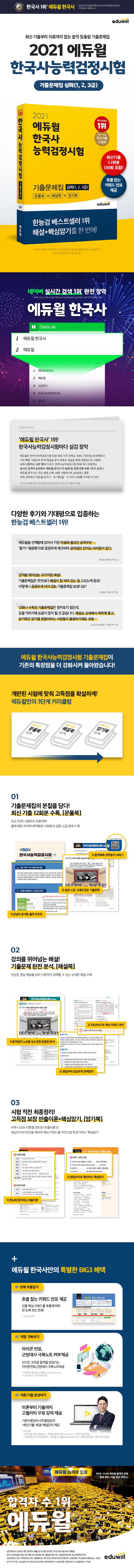 한국사능력검정시험 기출문제집 심화(1, 2, 3급)(2021)(에듀윌) 도서 상세이미지