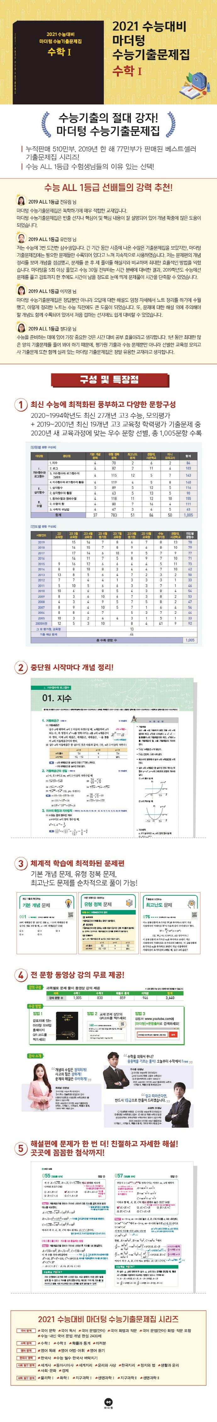 고등 수학1 수능기출문제집(2020)(2021 수능대비)(마더텅) 도서 상세이미지