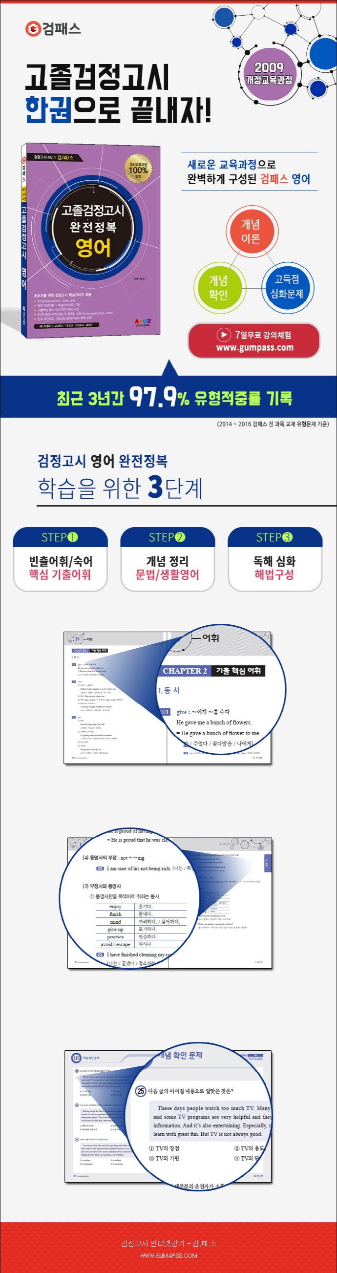 영어 고졸검정고시 완전정복(2017)(검패스) 도서 상세이미지