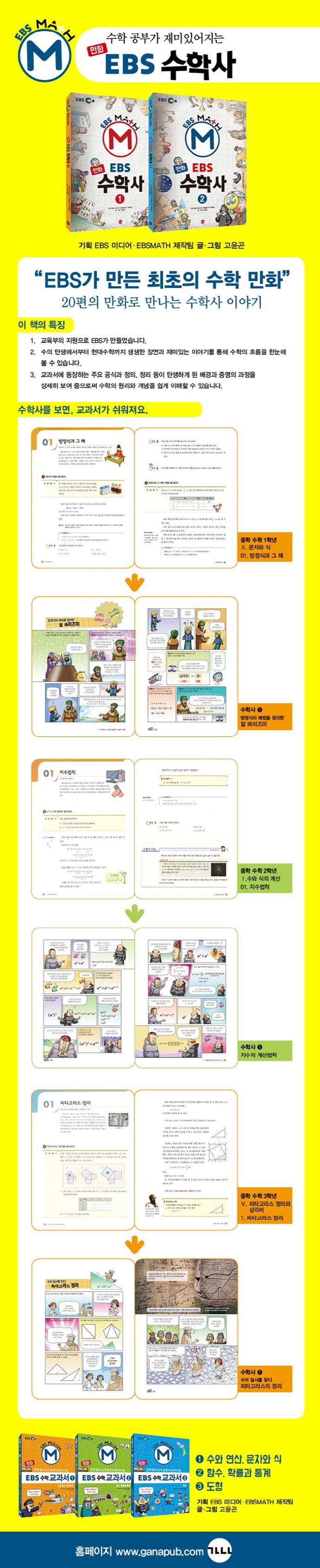 EBS 수학사 세트(만화)(전2권) 도서 상세이미지