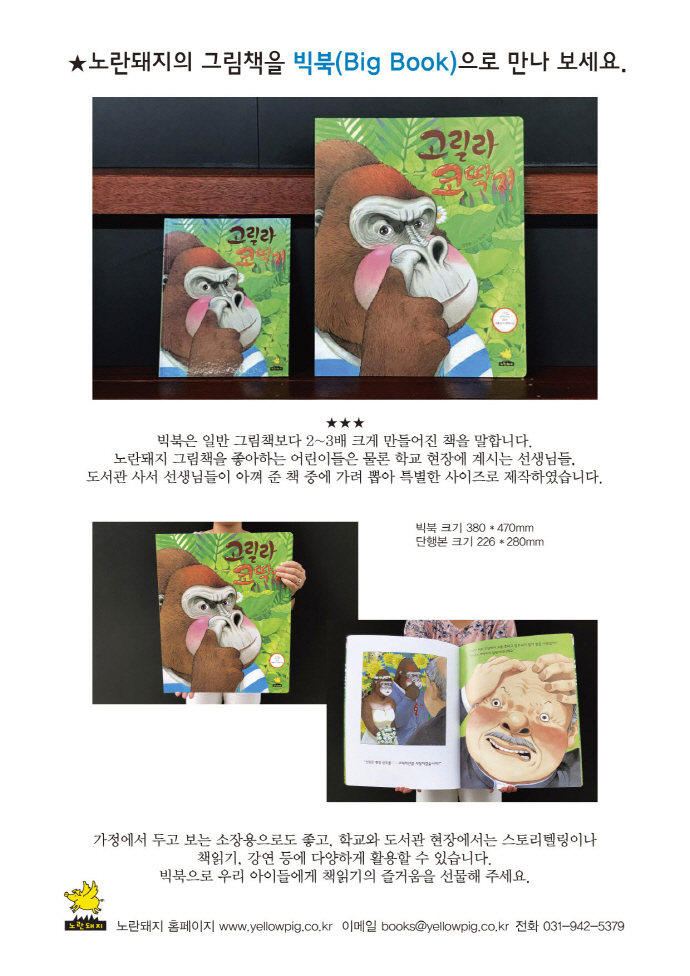 고릴라 코딱지(빅북)(노란돼지 창작그림책 26) 도서 상세이미지